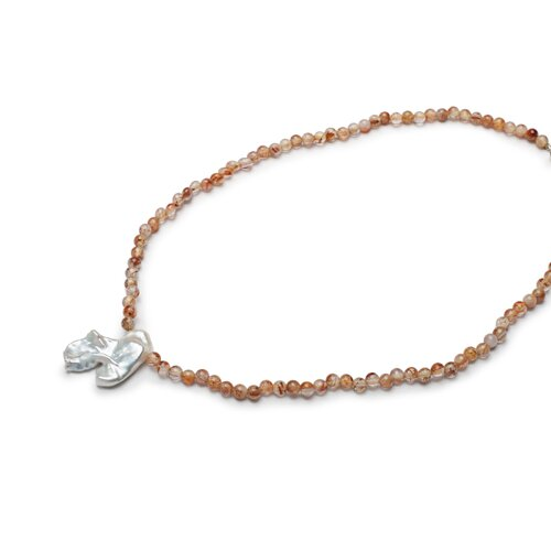 Eco Opulence Rutilated Quartz and Cultured Pearl Necklace