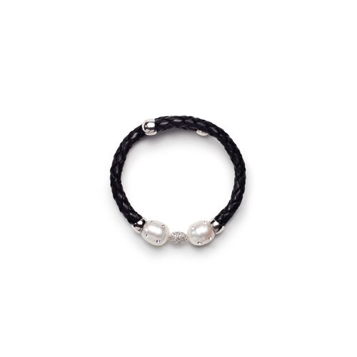 Leather Cultured Pearl Bracelet