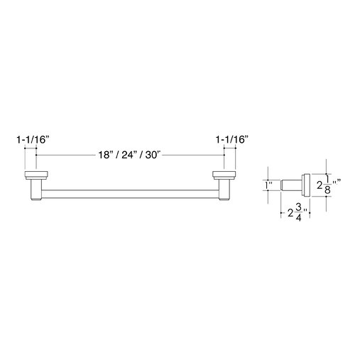 "Hamilton Sinkler Bath Suites 26.25"" Wall Mounted Towel Bar"