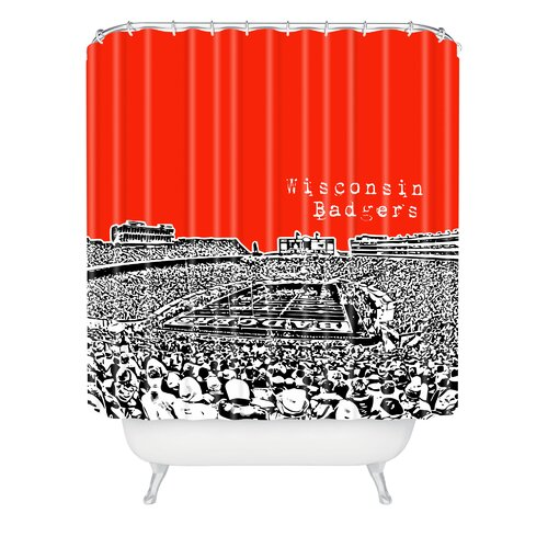 DENY Designs Bird Ave Woven Polyester Wisconsin Badgers Shower Curtain