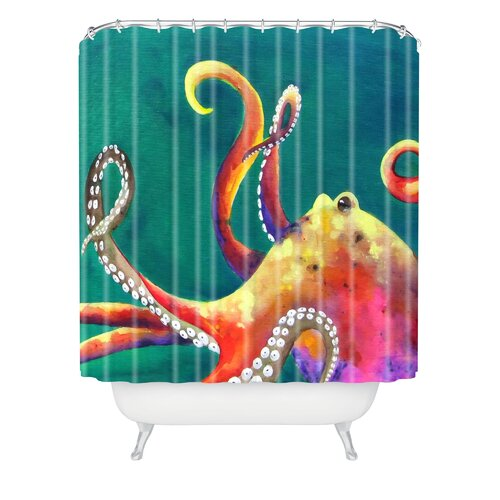 Clara Nilles Woven Polyester Mardi Gras Octopus Shower Curtain