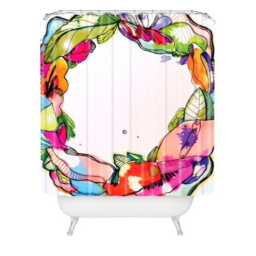 DENY Designs CayenaBlanca Floral Frame Polyester Shower Curtain