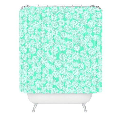 DENY Designs Joy Laforme Woven Polyester Dahlias Seafoam Shower Curtain