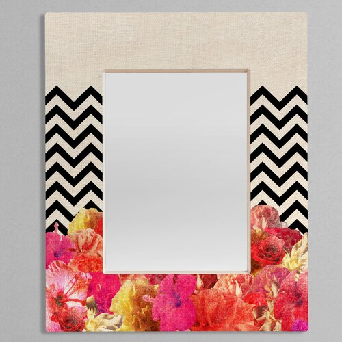 Bianca Green Chevron Flora 2 Rectangular Mirror