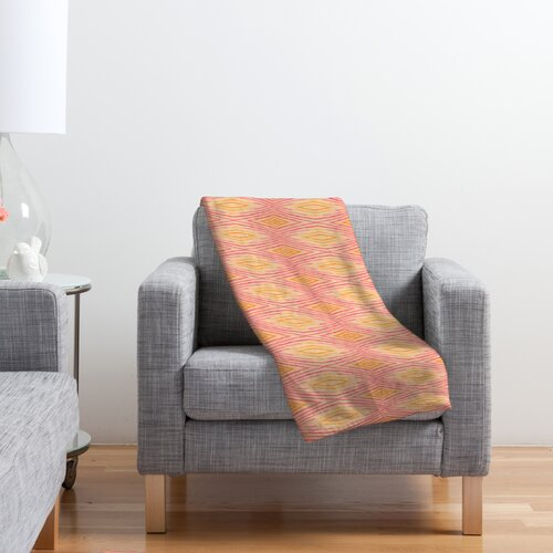 Cori Dantini Orange Ikat 4 Polyester Fleece Throw Blanket