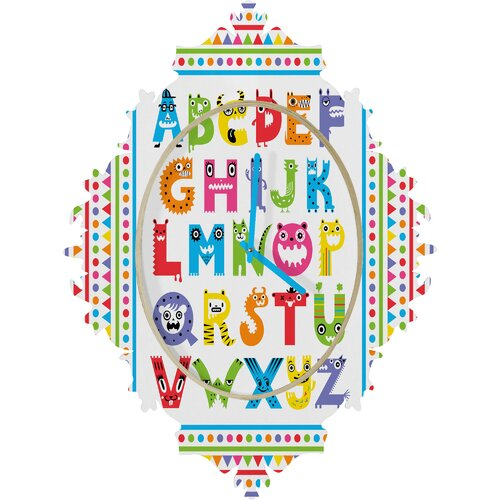 DENY Designs Andi Bird Alphabet Monsters Wall Clock