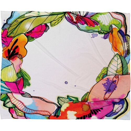 CayenaBlanca Floral Frame Polyester Fleece Throw Blanket