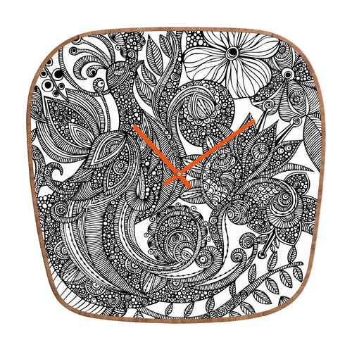 DENY Designs Valentina Ramos Bird and Flowers Wall Clock
