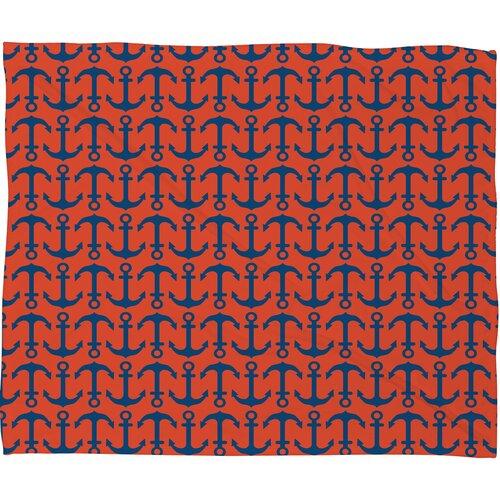 Andrea Victoria Ahoy Anchors Polyesterrr Fleece Throw Blanket