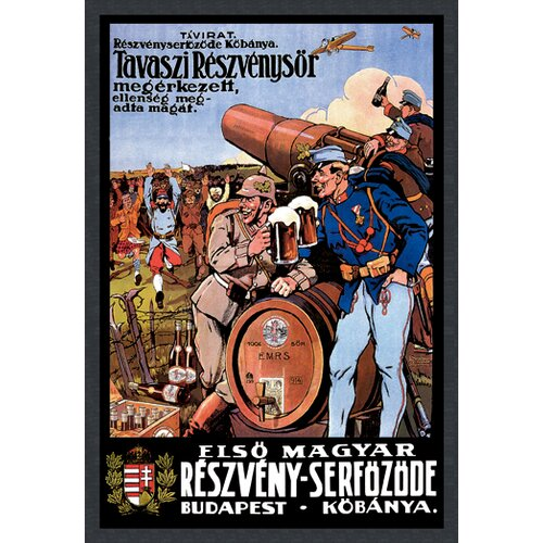 Buyenlarge Beer from the Spring Hops Has Arrived the Enemy is Surrendering by Foldes Vintage Advertisementon Canvas