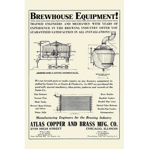 Buyenlarge Brewhouse Equipment Vintage Advertisment on Canvas
