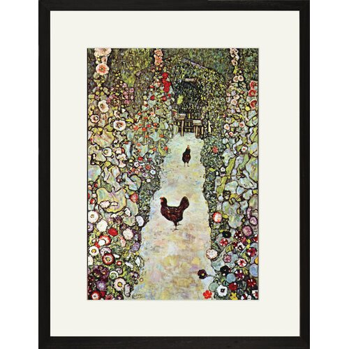 Buyenlarge Garden Path with Chickens Framed Painting Print