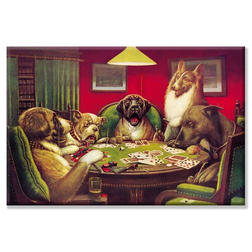 Buyenlarge Dog Poker - 'Stun, Shock and the Win' by C.M. Coolidge Painting Print on Canvas