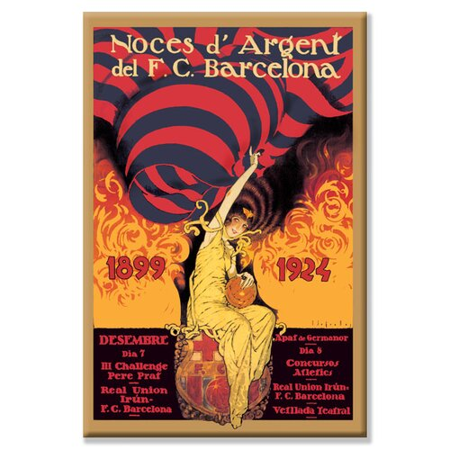 Buyenlarge Noces d'Argent del F.C. Barcelona by J. Segrelle Vintage Advertisement on Canvas