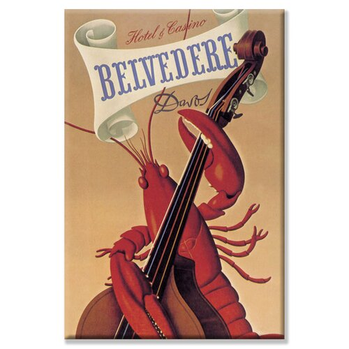 Buyenlarge Lobster Musician at the Belvedere Hotel and Casino Vintage Advertisement on Canvas