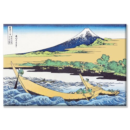 Fishing Boats within View of Mount Fuji by Katsushika Hokusai Painting Print on Canvas