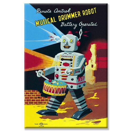 Musical Drummer Robot Vintage Advertisement on Canvas