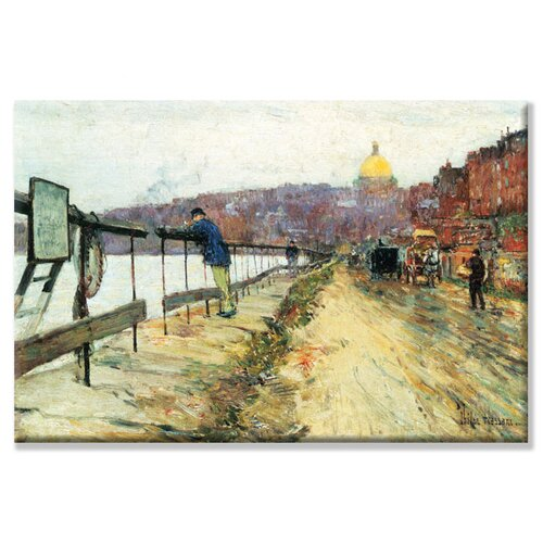 Charles River and Beacon Hill Painting Print on Canvas