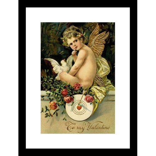 Angel Girl with Dove Framed Vintage Advertisement