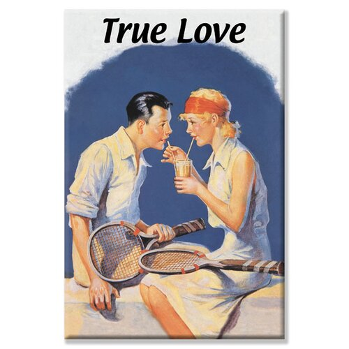 True Love Sharing a Milkshake after Tennis Vintage Advertisement on Canvas