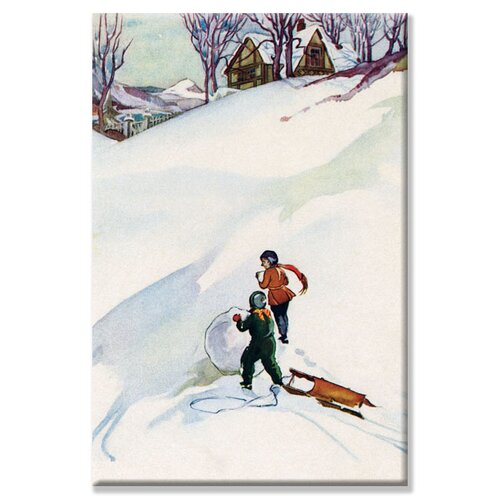 Buyenlarge Beginning the Snowman Painting Print on Canvas