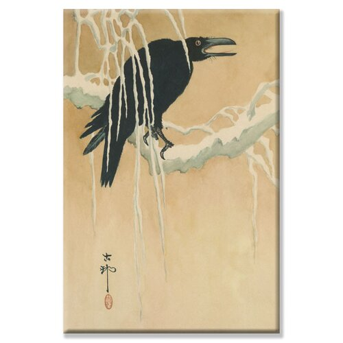 Blackbird in Snow Painting Print on Canvas