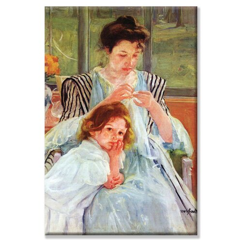 Buyenlarge 'Young Mother Sewing' Painting Print on Canvas