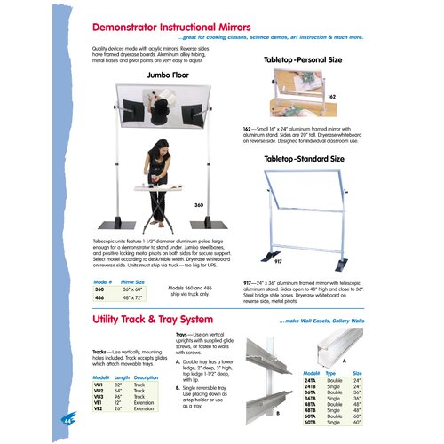 Testrite Demonstrator Instructional Mirror - Tabletop Standard Size 2' x 3' Glass Board