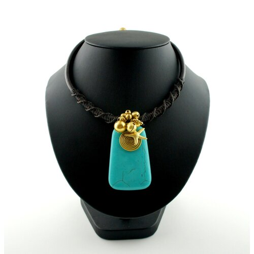 Goldtone Turquoise and Bead Cord Necklace