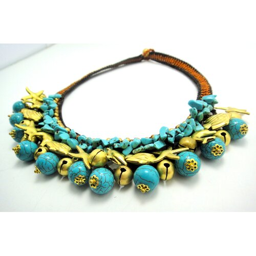 WNK International Turquoise and Brass Beads Necklace