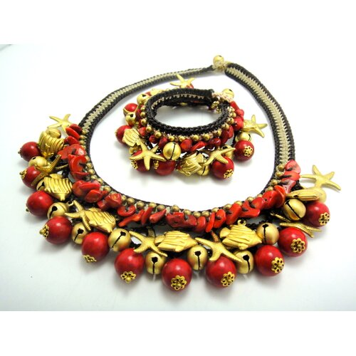 WNK International Red Coral Brass Bead Necklace and Bracelet Set