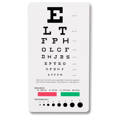 Prestige Medical Snellen Pocket Eye Chart