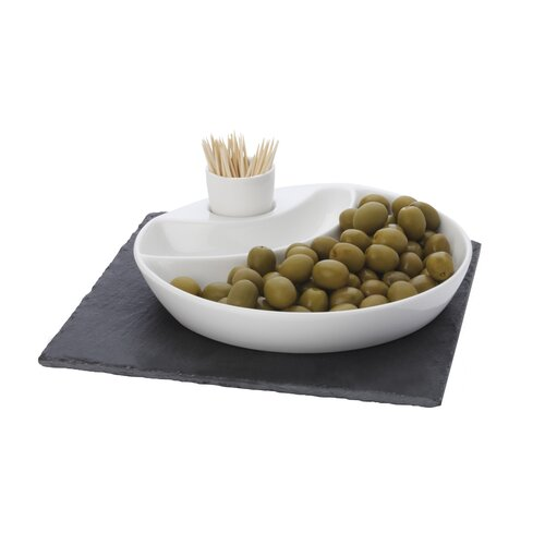 Maxwell & Williams White Basics Slate 3 Piece Olive Dish