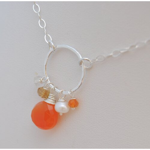 AEB Designs Gemstone Sterling Silver Carnelian Cluster Necklace