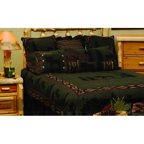 Wooded River Moose I Gathered Bed Skirt