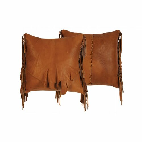 Accessory Pillows Deerskin Leather with Flap and Fringe Pillow