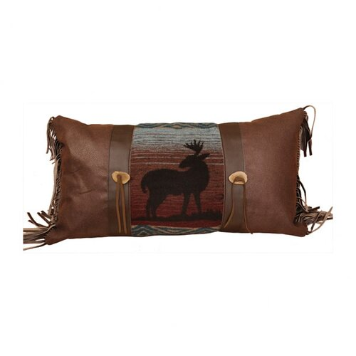 Wooded River Deer Meadow Faux Leather Pillow