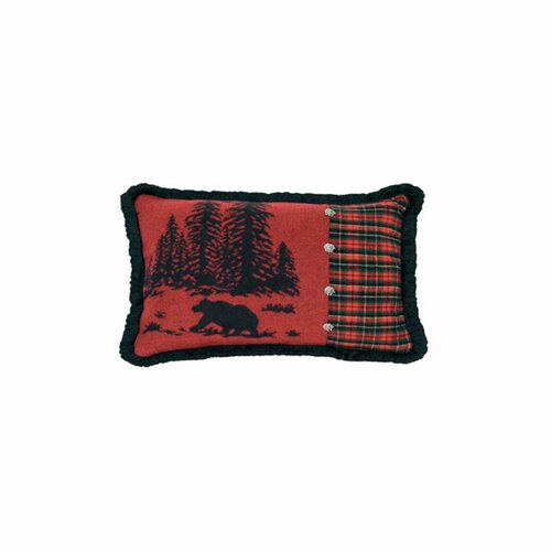 Wooded River Bear Plaid Pillow