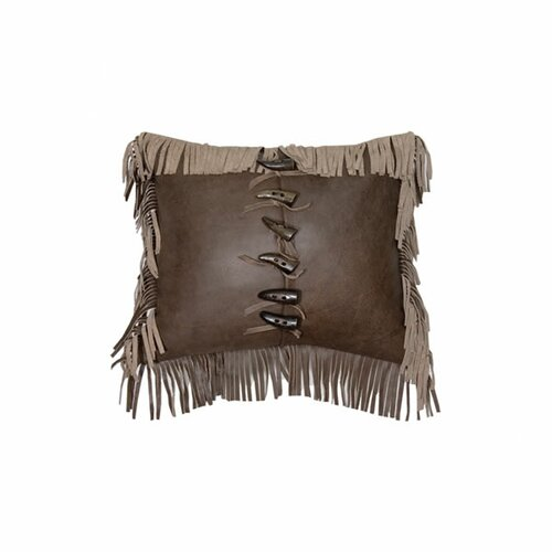 Wooded River Accessory Pillows Leather Fringe Decorative Toggle Buttons Pillow