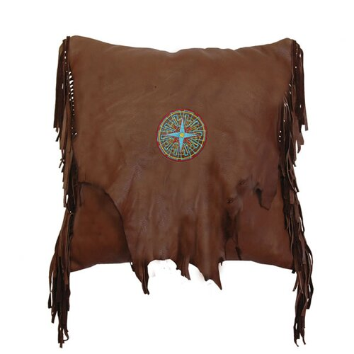 Accessory Pillows Deerskin Leather and Fringe with Embroidery Medallion Pillow