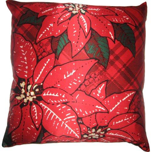 Holiday Elegance Poinsettia Silk Pillow