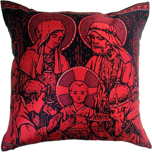Holiday Elegance Manger Scene Silk Pillow