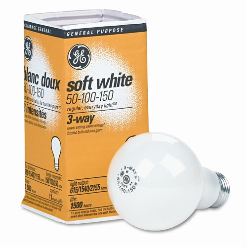 GE 50/100/150W 120-Volt Incandescent Light Bulb