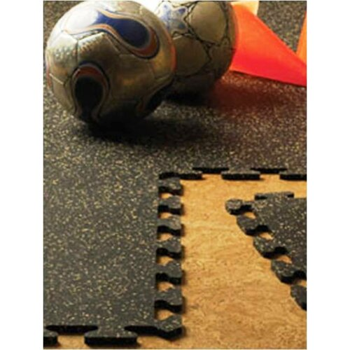 Mats Inc. iFLEX Recycled Rubber Interlocking Floor Tiles in Black with Tan Specks
