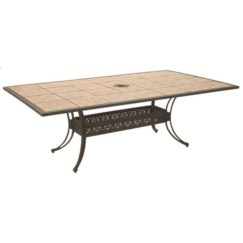 Drop In Tile Rectangle Dining Table with Hole