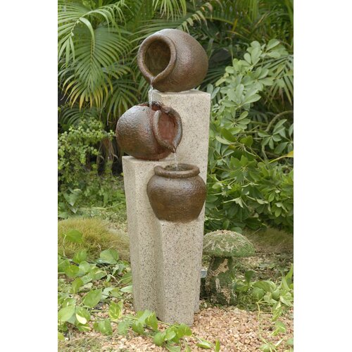 Fountain Cellar Polyresin and Fiberglass 3-Pot Tiered Fountain