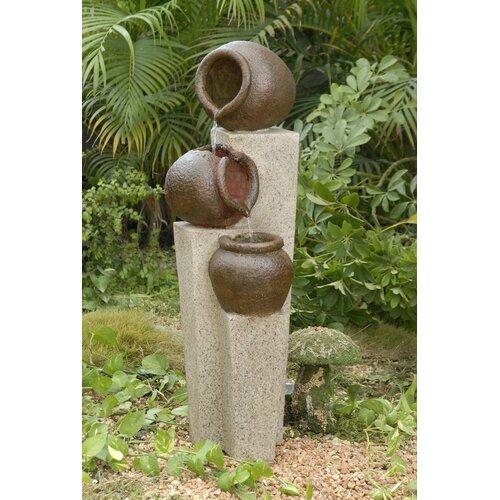 Fountain Cellar Polyresin and Fiberglass 3-Pot Tiered Fountain