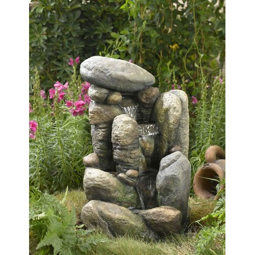 Fountain Cellar Polyresin and Fiberglass Tiered River Rock Fountain