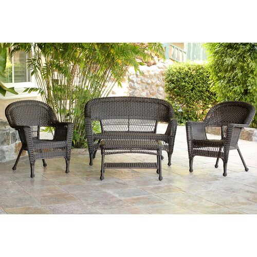 Wicker Lane 4 Piece Lounge Seating Group with Cushions