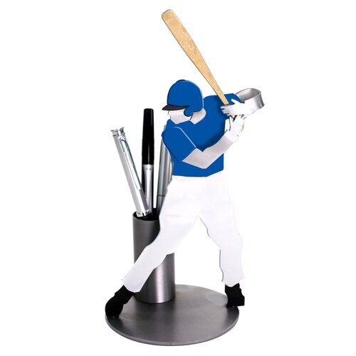 H & K SCULPTURES Desk Accessory Baseball Pen Holder